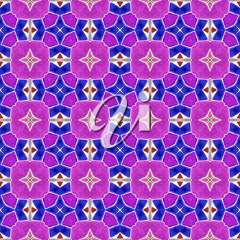 Abstract kaleidoscope background with star shapes in purple color.