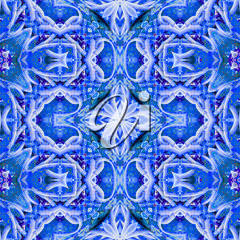 Blue kaleidoscope pattern. Abstract background ideal for wallpaper pattern and other work.