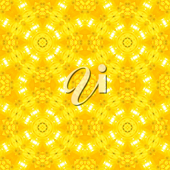 Yellow kaleidoscope floral abstract seamless background illustration.