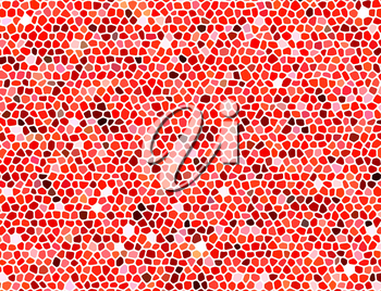 Abstract stone mosaic in red colors with white joints.
