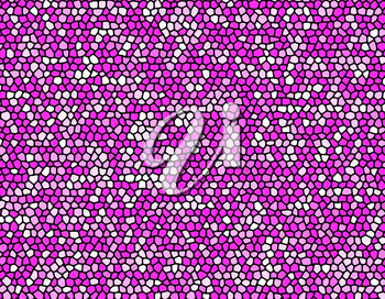 Abstract stone mosaic in pink and purple colors with black joints.