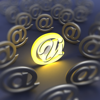 @ e-mail sign defocused. 3d render image
