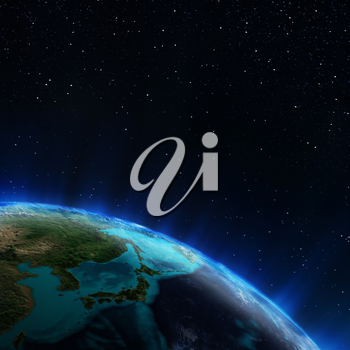 Japan. Elements of this image furnished by NASA 3d rendering