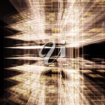 Abstract gold office building. High resolution 3d rendering