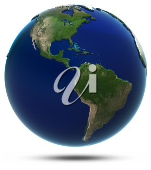 America world map. Elements of this image furnished by NASA 3d rendering