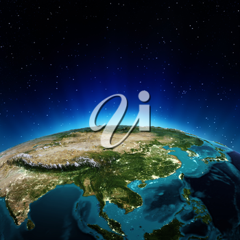 Asia. Elements of this image furnished by NASA 3d rendering