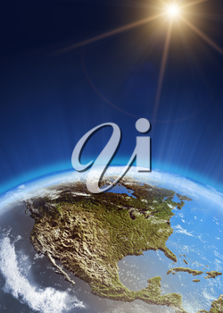 USA from space. Elements of this image furnished by NASA 3d rendering