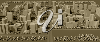 City map in sepia tones with forest belt 3d rendering