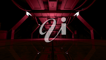 3D rendering of abstract dark red sci fi futuristic space station or ship interior corridor design.