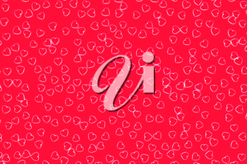 Valentine's Day abstract 3D illustration pattern with red or pink hearts on red background surrounded by white glow.