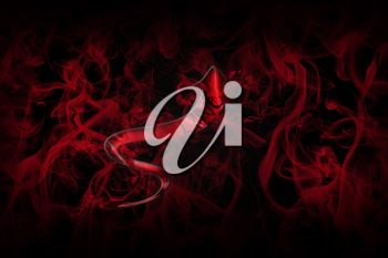 Love Concept. Arrow With Love Written On It Showing The Way On Black Background Full Of Red Smoke 3D illustration