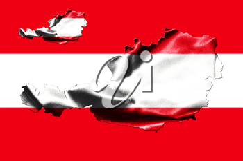 Map of Austria with national flag isolated on Austrian Flag  background