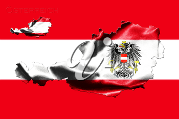 Map of Austria with national flag isolated on Austrian Flag  background With Coat Of Arms Eagle Emblem