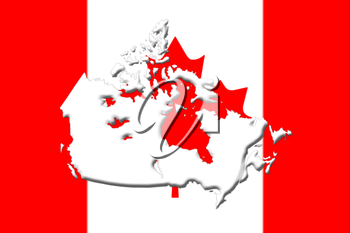 Canadian National Flag With Map Of Canada On It in Red And White Colors 3D Rendering