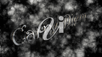 Carpe diem - latin phrase that means Capture the moment on black background with white smoke
