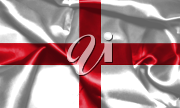 Flag of England Waving In The Wind. St George's Cross 3D illustration