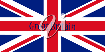 Great Britain Flag With Country Name Written On It 3D illustration