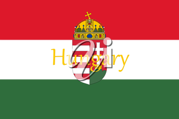 Hungarian National Flag With Coat Of Arms and Hungary Written On It 3D illustration