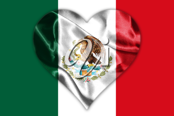 Mexican National Flag With Eagle Coat Of Arms In Shape Of Heart 3D Rendering