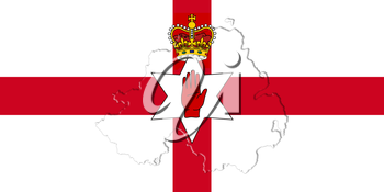 Northern Ireland Ulster Banner. Flag With Map On It 3D illustration