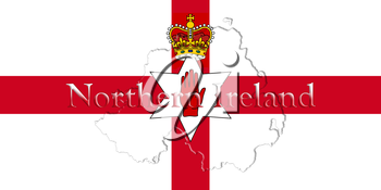 Northern Ireland Ulster Banner. Map With Flag And Country Name On It 3D illustration