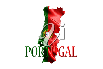 Portugal National Flag With Map Of Portugal On It 3D illustration