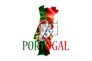 Portugal National Flag With Map Of Portugal And Name Of The Country Isolated On White Background 3D illustration
