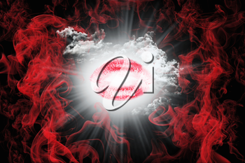Kiss With Red Smoke and White Fluffy Clouds. Valentine's Day Concept 3D Illustration