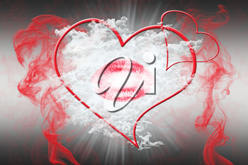 Heart and a Kiss With Red Smoke. Valentine's Day Concept 3D Illustration
