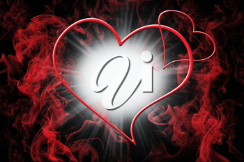 Hearts and Red Smoke With Light Burst. Valentine's Day Love Concept Background 3D Illustration