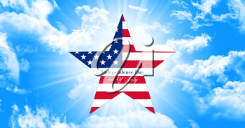 Happy 4th of July.  Independence Day, Star With United States of America Flag on Sky Background  illustration