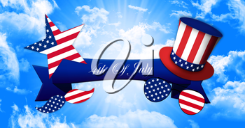Happy 4th of July. Glasses and Mustache Design of the American Flag With Hat of Uncle Sam and Ribbon Banner On Sky Background 3D illustration