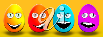 Easter Eggs With Eyes and Mouth Feeling Happy, Confused, Angry and Stupid 3D Illustration