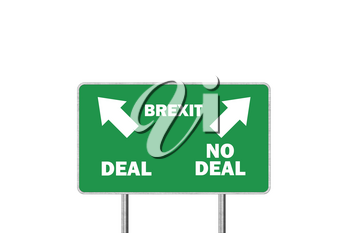 Brexit, Deal or No deal concept. Road sign With Arrows and Text
