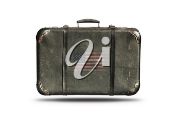 Travel Vintage Leather Suitcase With Flag Of United States Of America Isolated On White Background