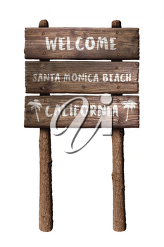 Welcome To Santa Monica Beach In California Wooden Board Sign Isolated On White Background