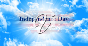 Independence Day, 4th of July Sign Against Blue Sky Background With American Flag and Map
