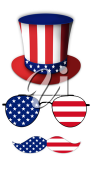 Glasses and Mustache Design of the American Flag With Hat of Uncle Sam Illustration