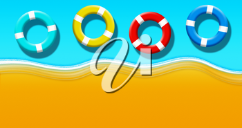 Summer Holiday At Tropical Sandy Beach With Turquoise Blue Water And Floating Safety Rings Top View Background Illustration