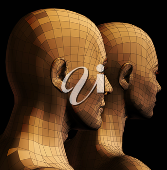Futuristic man and woman couple wire frame 3d illustration on black background.