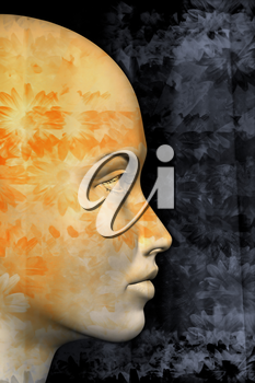 Female profile and abstract floral pattern. 3d illustration.