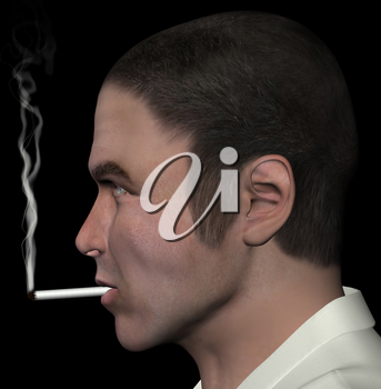 Man smoking and cigarette smoke 3d illustration.