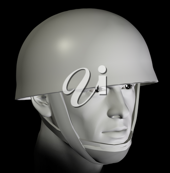 Soldier with helmet preparing for battle portrait on black background. 3d illustration.