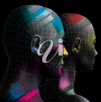 3-d computer generated illustration. Male and female futuristic figures with bright color strokes.