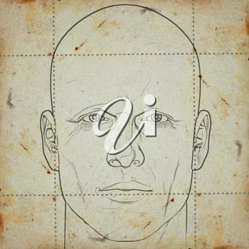 Sketch of a man's head on stained paper background. Digitally created illustration.