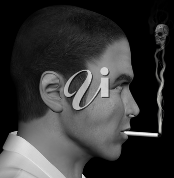 Man smoking a cigarette with skull forming through the smoke. 3d illustration.